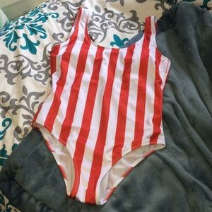 Red striped one piece